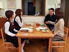 Japanese schoolgirls gym and parents facials