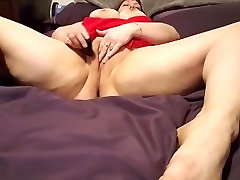Horny In Red: Sexy Amateur BBW Tastes Her Own Pussy, Orgasms Solo