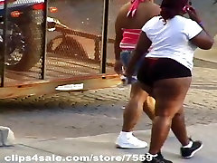 Candid HUGE black thighs..tight shorts comp 1