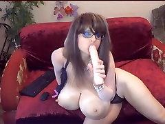 Huge Tits Milf Blows Dildo On Cam