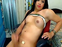 Naughty Tranny Srokes her Cock until she Cums