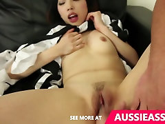 Asian maid takes a mouth of cum after bouncing on aussie boy