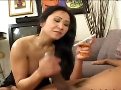 Asian chick having brutal dick in mouth