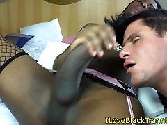 Black tranny assfingered while tugging