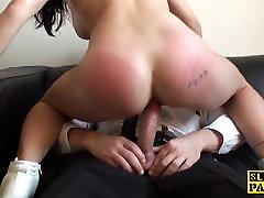 Inked UK slut assfucked hard after deepthroat