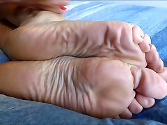 Rubbing My Legs And Sexy Feet On The Bed