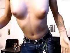 Sexy tranny TS pert tits big shaved hard cock and balls