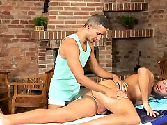 Hot hunk is getting his dick sucked by gay masseur
