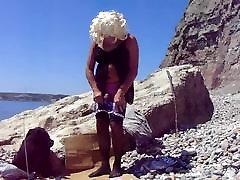 Fun wig on beach
