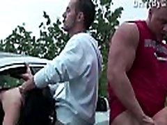Facial cum on a girl through a car window in public sex gang bang dogging orgy