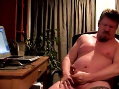 Verbal daddy bear stroking his cock