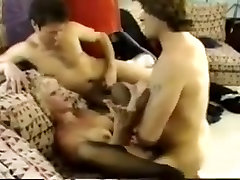 Retro scene blond big tits lingerie foursome