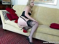 Blonde tease in vintage lingerie heels nylons panties wank