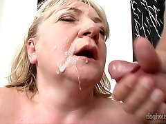 Mature chubby huge breasted nympho with big tits is fucked doggy