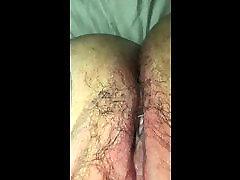 Hairy, creamy bbw pussy play