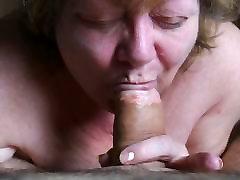 Pro Granny sucking big wide cock