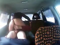 Asian Mature Women Rides Russian Taxi Driver in the Backseat