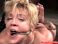 Mature sub restrained and punished with toys