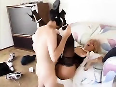 Blonde Charlyse B models stockings and lingerie