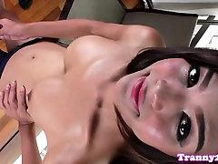 Solo masturbating ladyboy drops milky cum