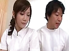 Asian nurse receives a mouthful from her patient&039s hard boner