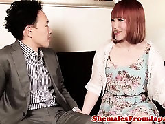 Redhead ladyboy drilled after slow foreplay