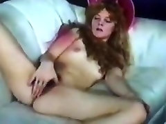 Cute vintage hairy college girl masturbating on the couch