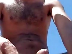 He wanks naked Outdoors