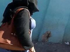 Arab mom with big boobs walk in street