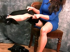 Busty babe slutty leather thigh boots sexy lingerie tease