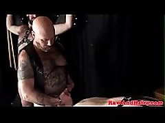 Tattooed bear pounding ass during threesome