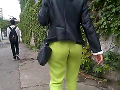 SDRUWS2 - YELLOW SEE THROUGH PANTS ON THE STREET
