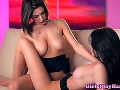 Busty lesbian babe orgasms after tribbing
