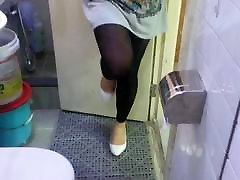 White Patent Pumps with Black Leggings Teaser