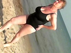 Spy Beach Mature with Sexy Granny GILF in Swimsuit huge tits