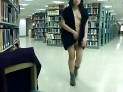 Asian girl gets naked in library