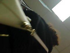 Brunette black stockings upskirt