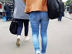 small russian ass in blue jeans