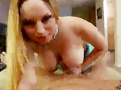 This guy gets a nasty handjob from big boobed babe Aiden starr