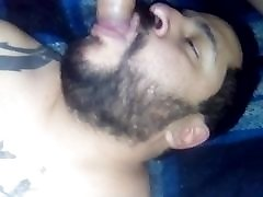 Latin bear sucking a fat bick fucking cock