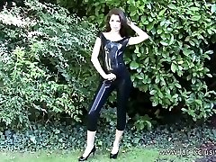 Outdoor latex fetish babe Anastasia
