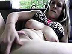 Busty blonde with hairy pussy in car