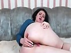 Brunette BBW Jill plays with herself on webcam