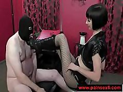 Femdom with pain pig boots cbt spanking-1