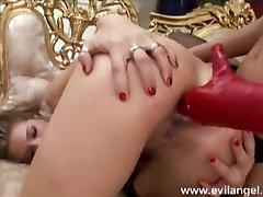 Cute lesbian Peaches fists her girlfriends tight ass till she has an assgasm