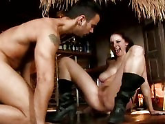 Double treat for big tittied Gianna Michaels as her hairy hole fills with cream