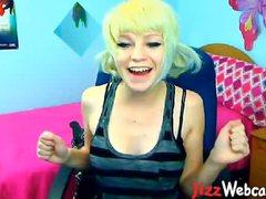 Giggling Blonde Teen Webcam Striptease