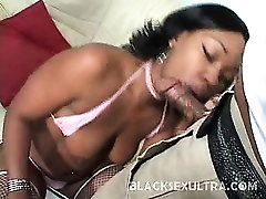 Angel Eyes has a sweet face and bright colored eyes. This hot young ebony brandishes her sexy curvy body and hook up with a horny black stud to worship her big plump ass. Check her out as she rides on top of him and take his cock up her tight yet willing