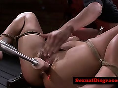 Bondage bdsm sub gagging on doms cock