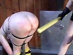 redhead bend over a t-stand